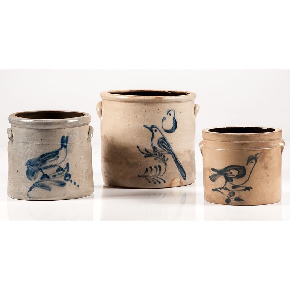 Stoneware Crocks with Bird Decoration