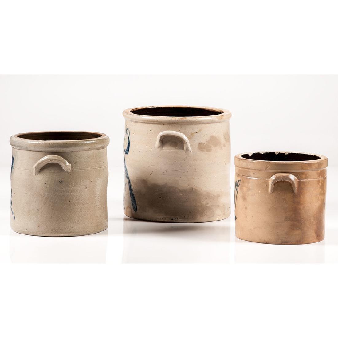 Stoneware Crocks with Bird Decoration - 2