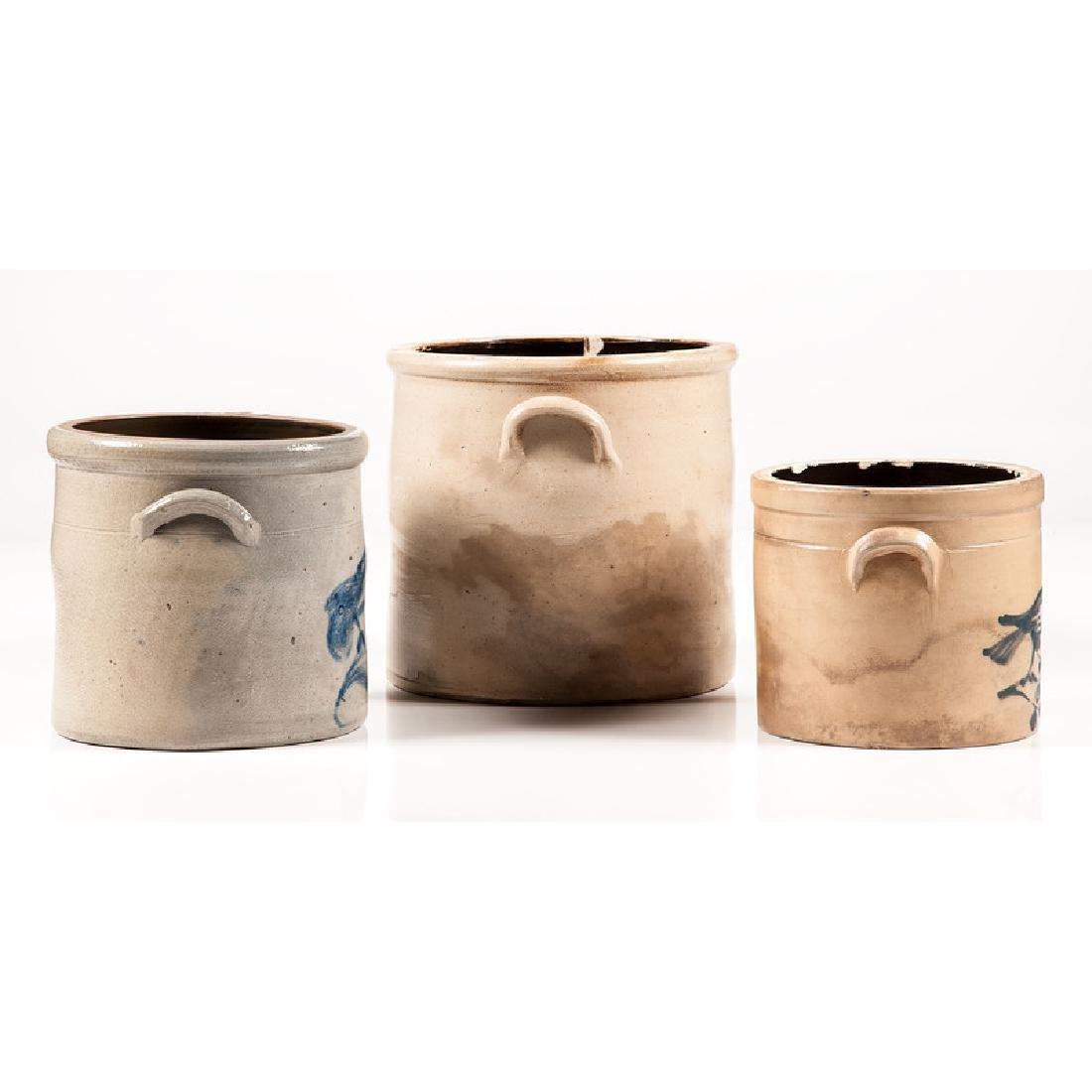 Stoneware Crocks with Bird Decoration - 4