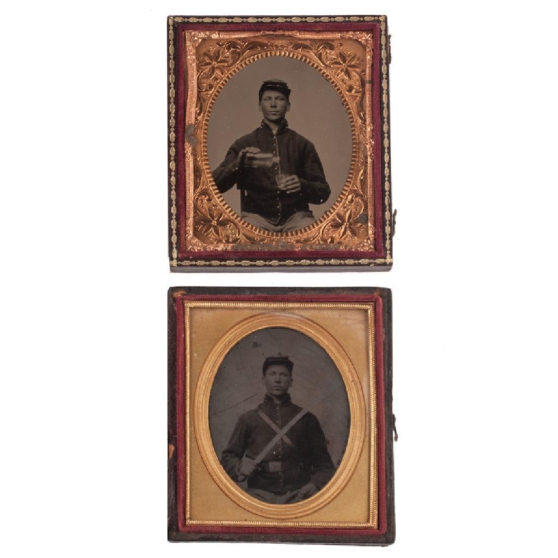 Two Sixth Plate Tintypes of the Same Civil War Soldier,