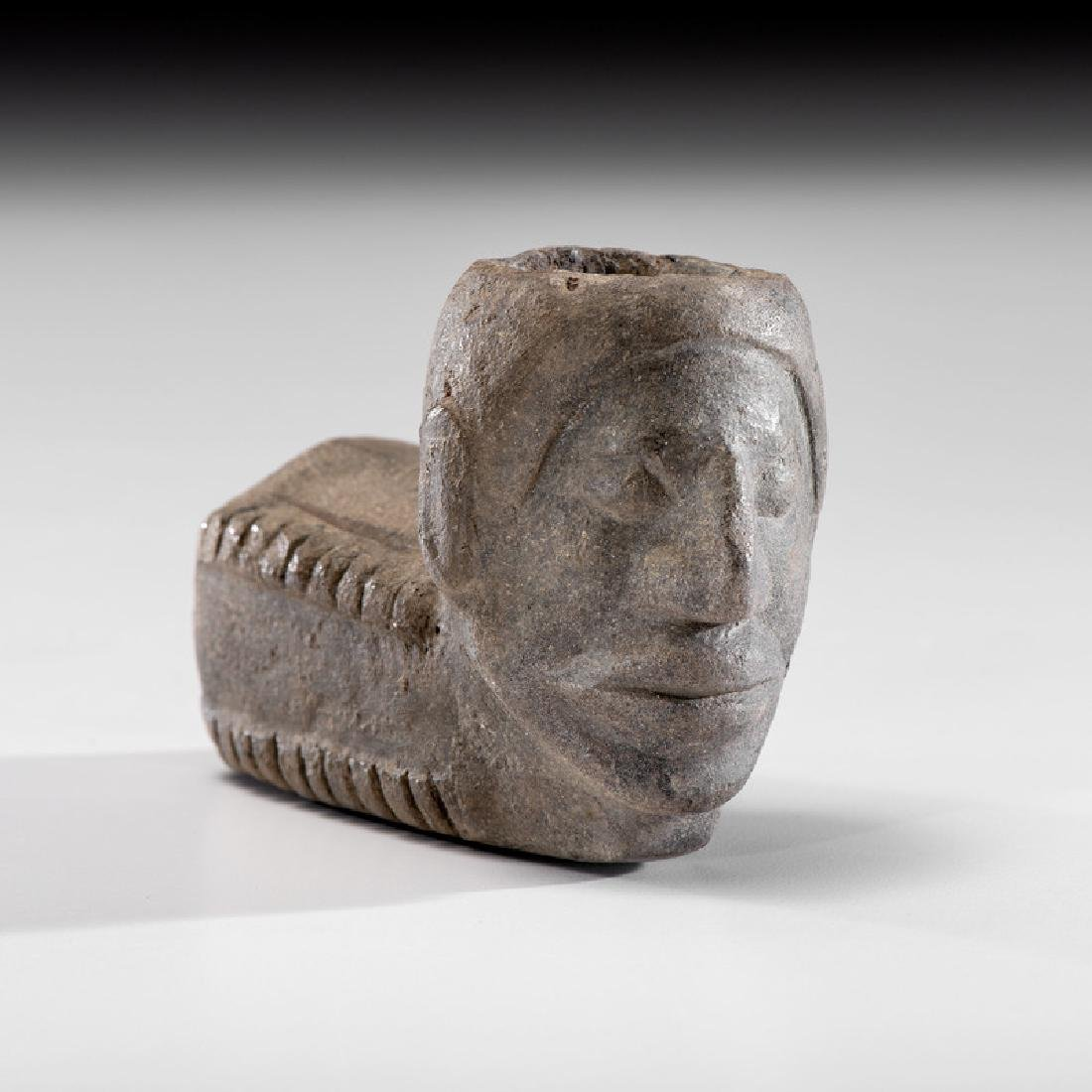 A Sandstone Human Effigy Pipe Bowl, 3-3/4 in.
