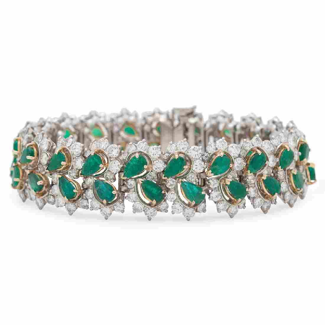 Platinum Emerald and Diamond Bracelet
