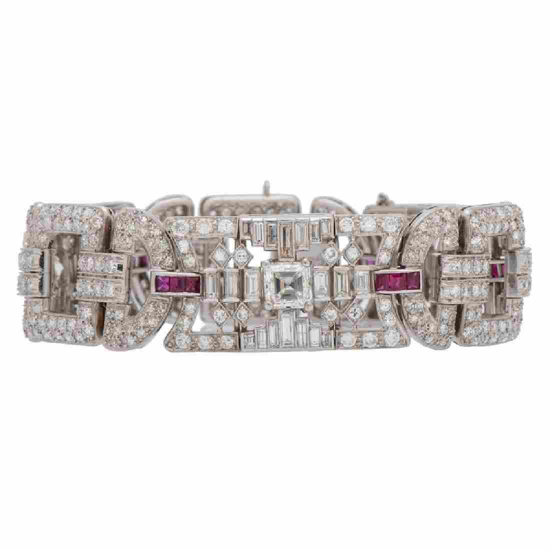 Tiffany & Co. Art-Deco Diamond and Ruby Bracelet in