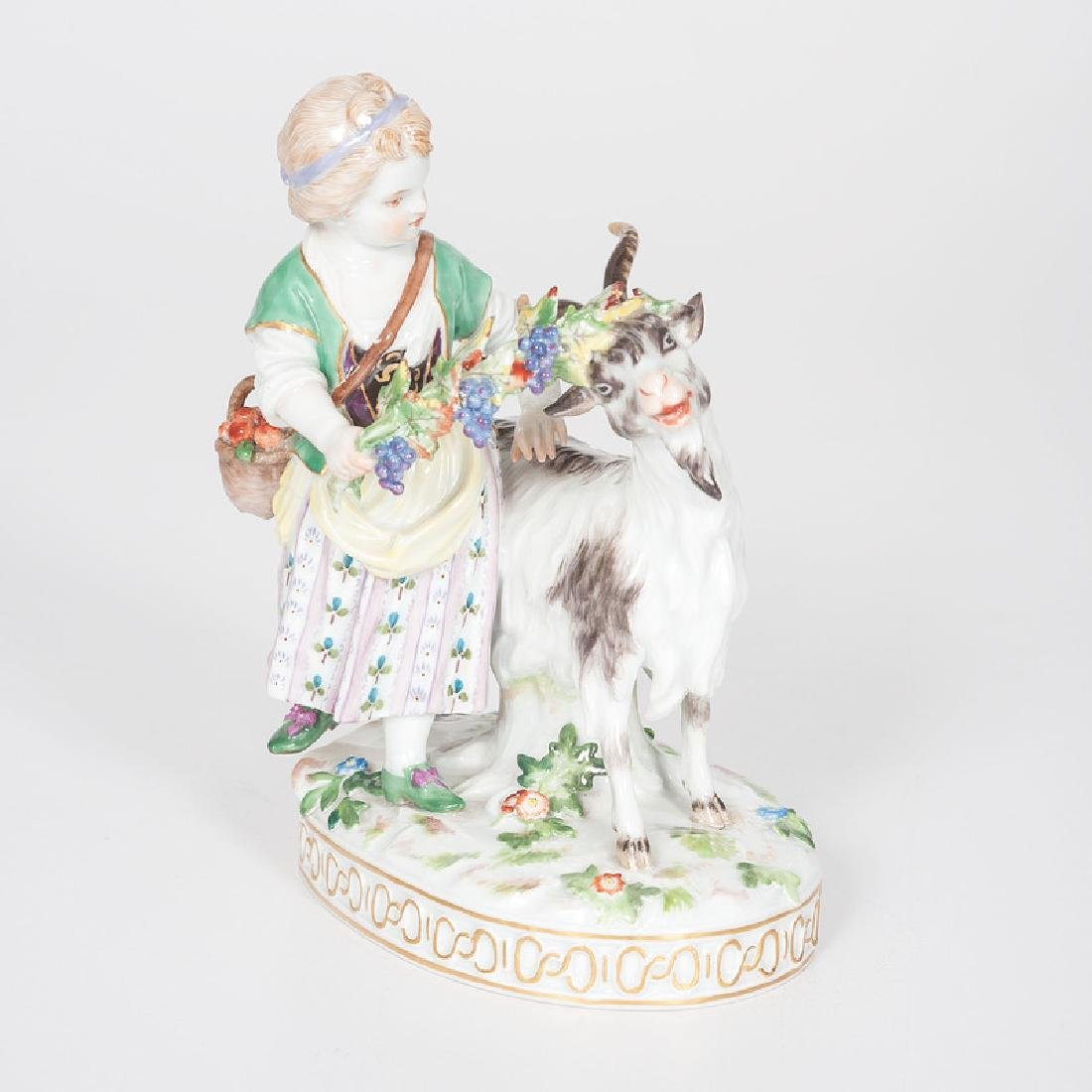 Meissen Figural Group, Girl and Goat