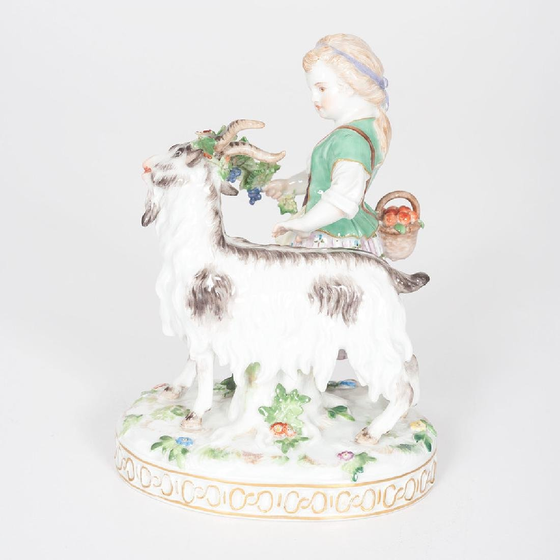 Meissen Figural Group, Girl and Goat - 2