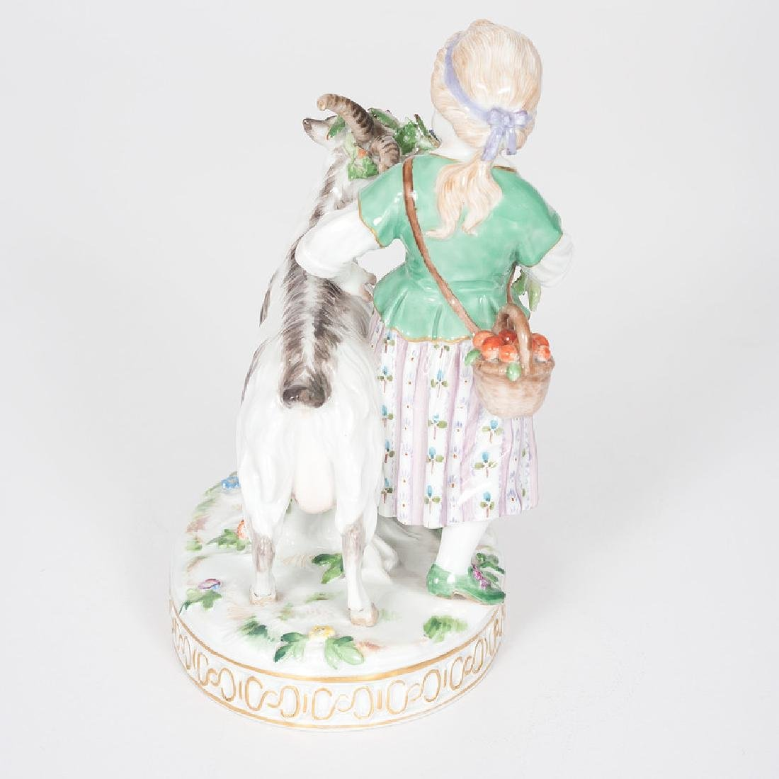Meissen Figural Group, Girl and Goat - 3