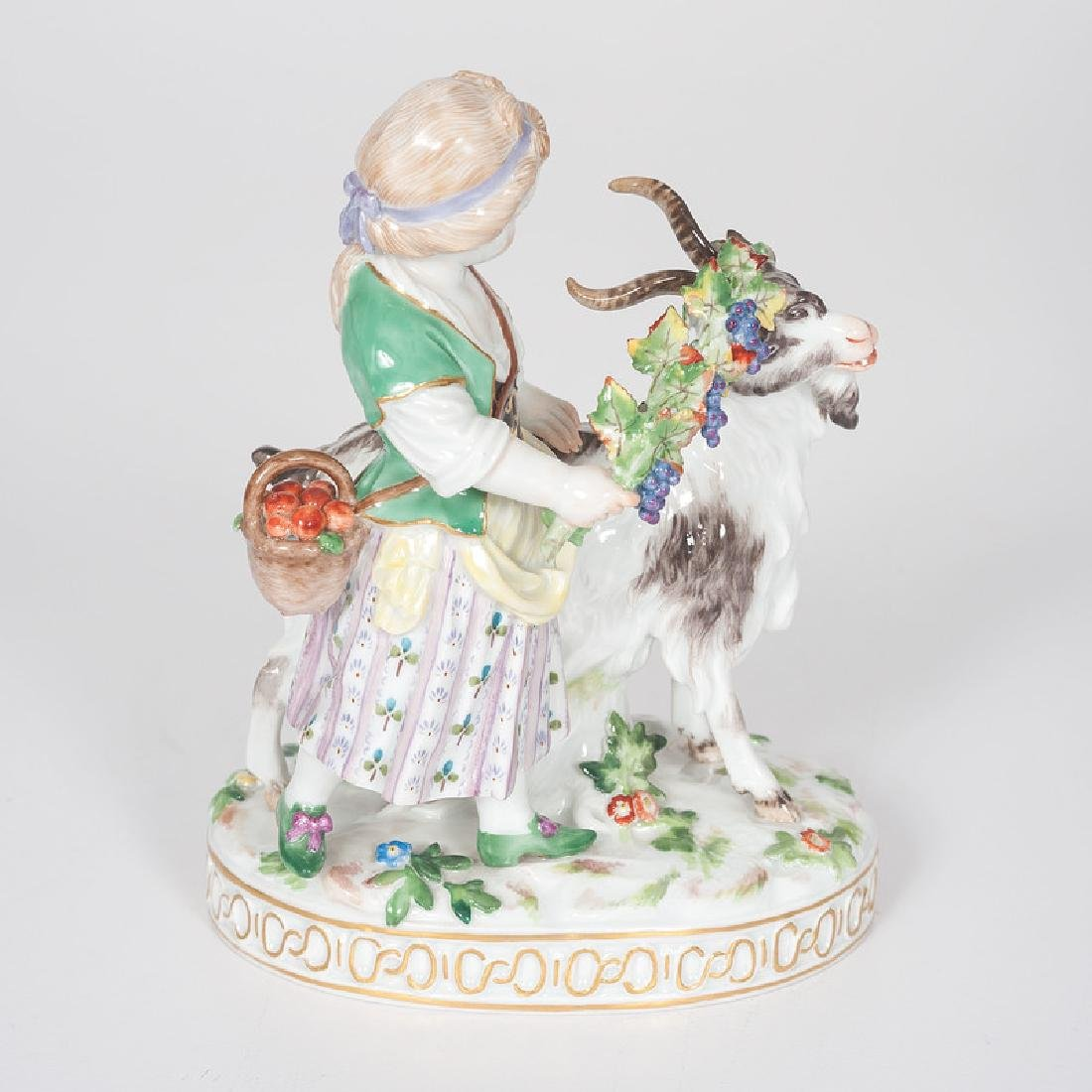 Meissen Figural Group, Girl and Goat - 4