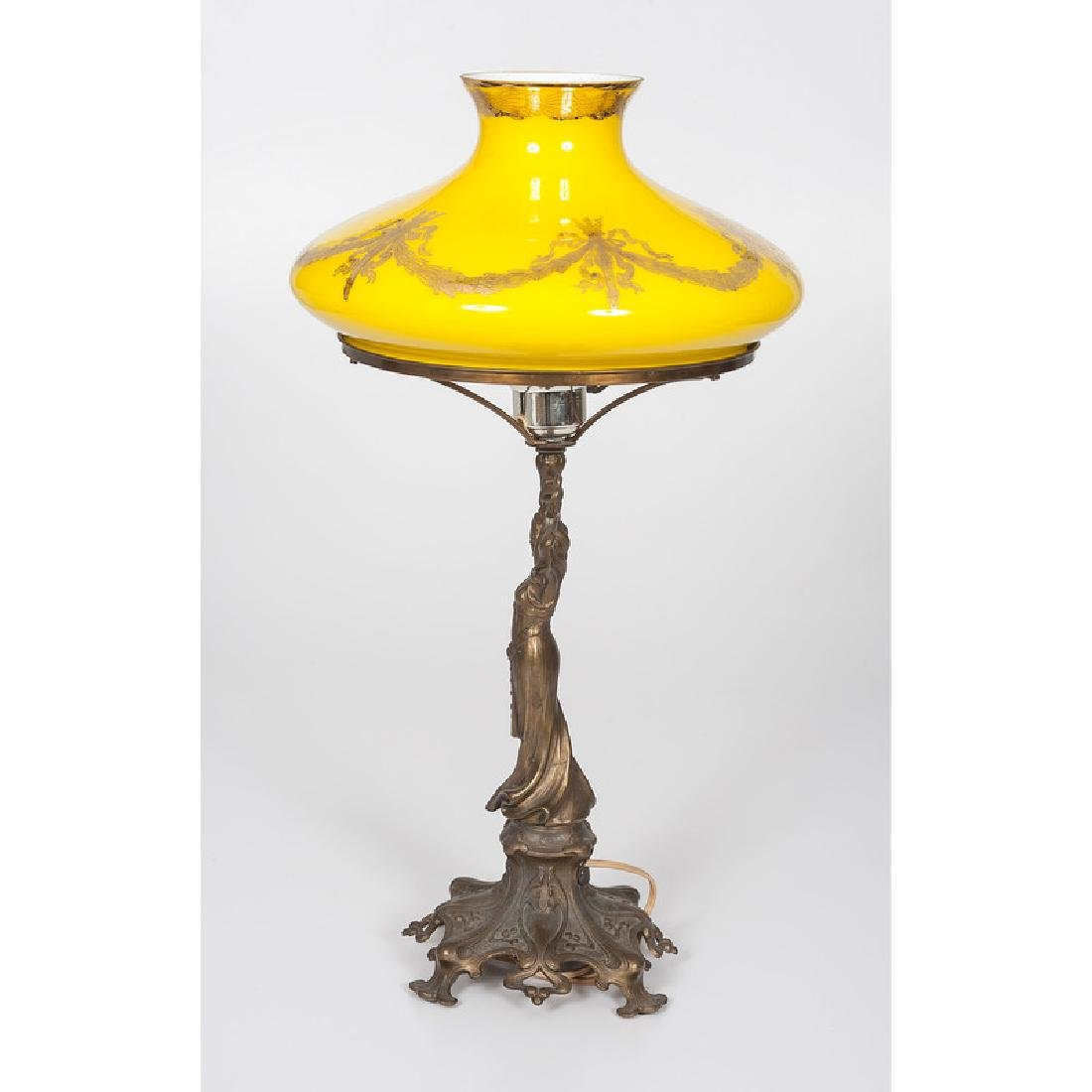Antique Lamp with Victorian shade - 2