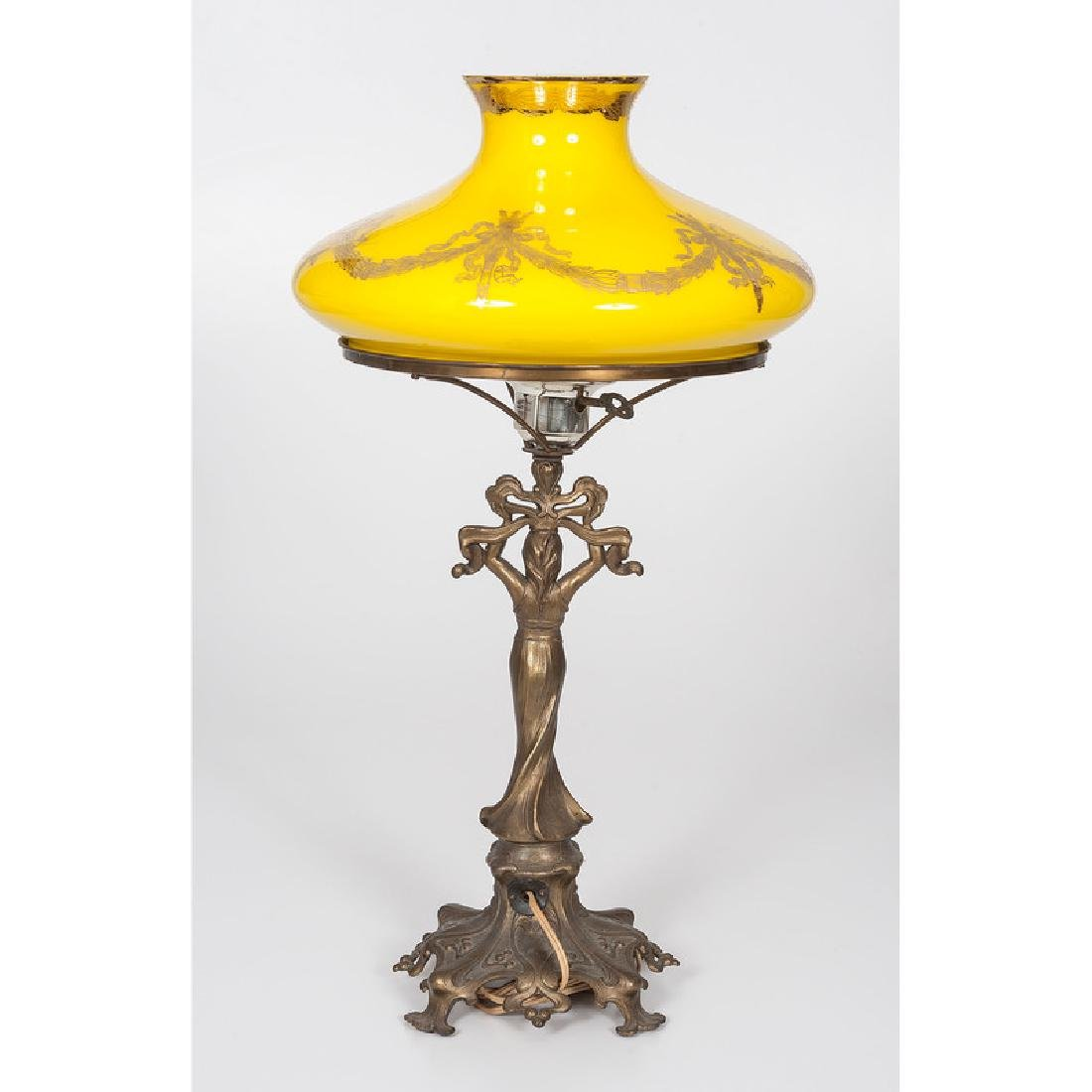 Antique Lamp with Victorian shade - 3