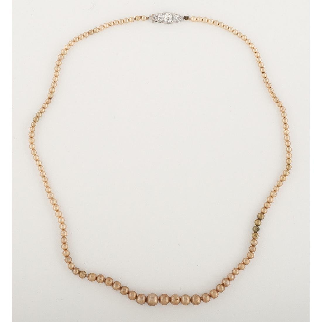Faux Pearl Necklace with Platinum Diamond Clasp