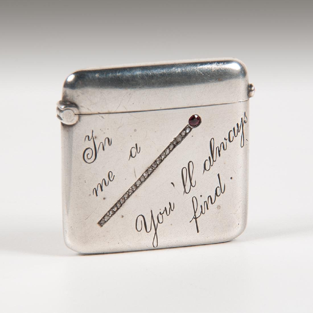 .900 Silver Match Safe with Diamonds and Ruby