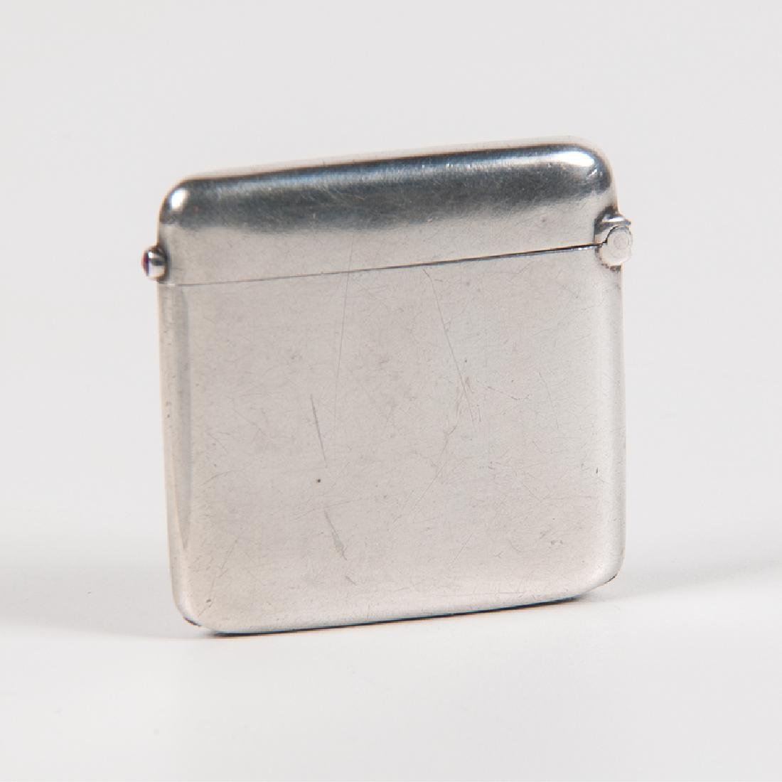 .900 Silver Match Safe with Diamonds and Ruby - 2