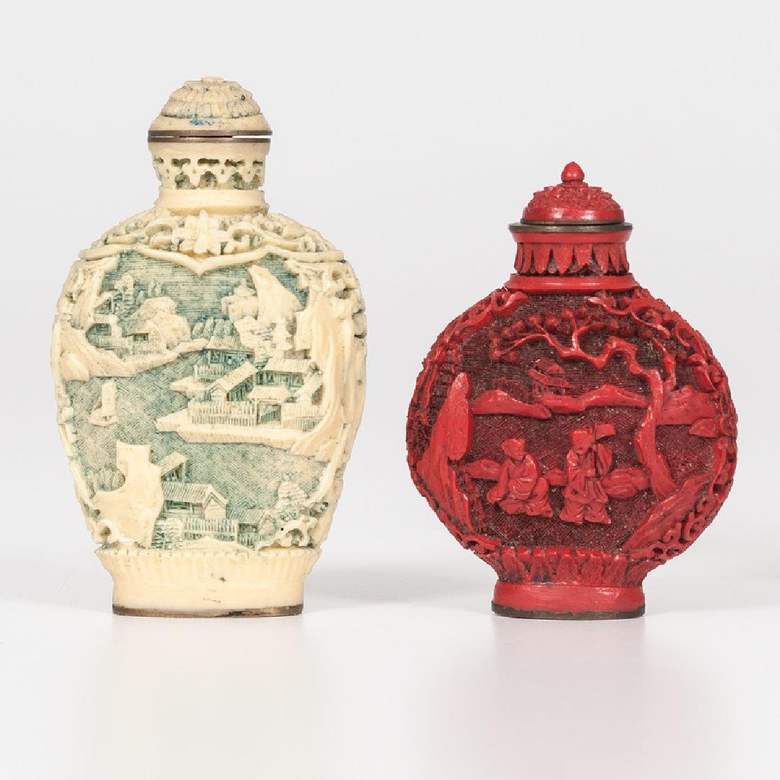 Carved Resin and Cinnabar Snuff Bottles