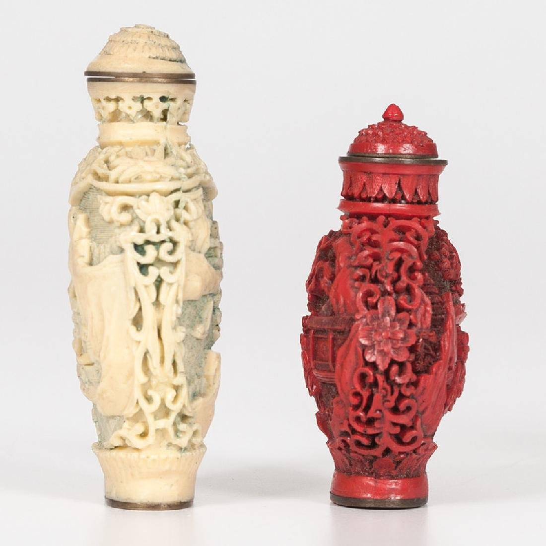 Carved Resin and Cinnabar Snuff Bottles - 2