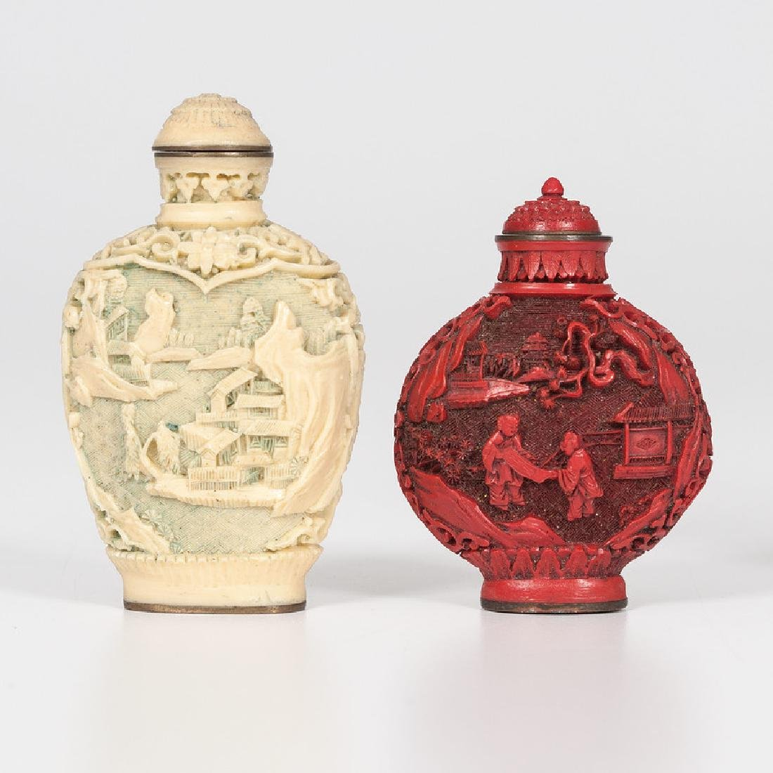 Carved Resin and Cinnabar Snuff Bottles - 3