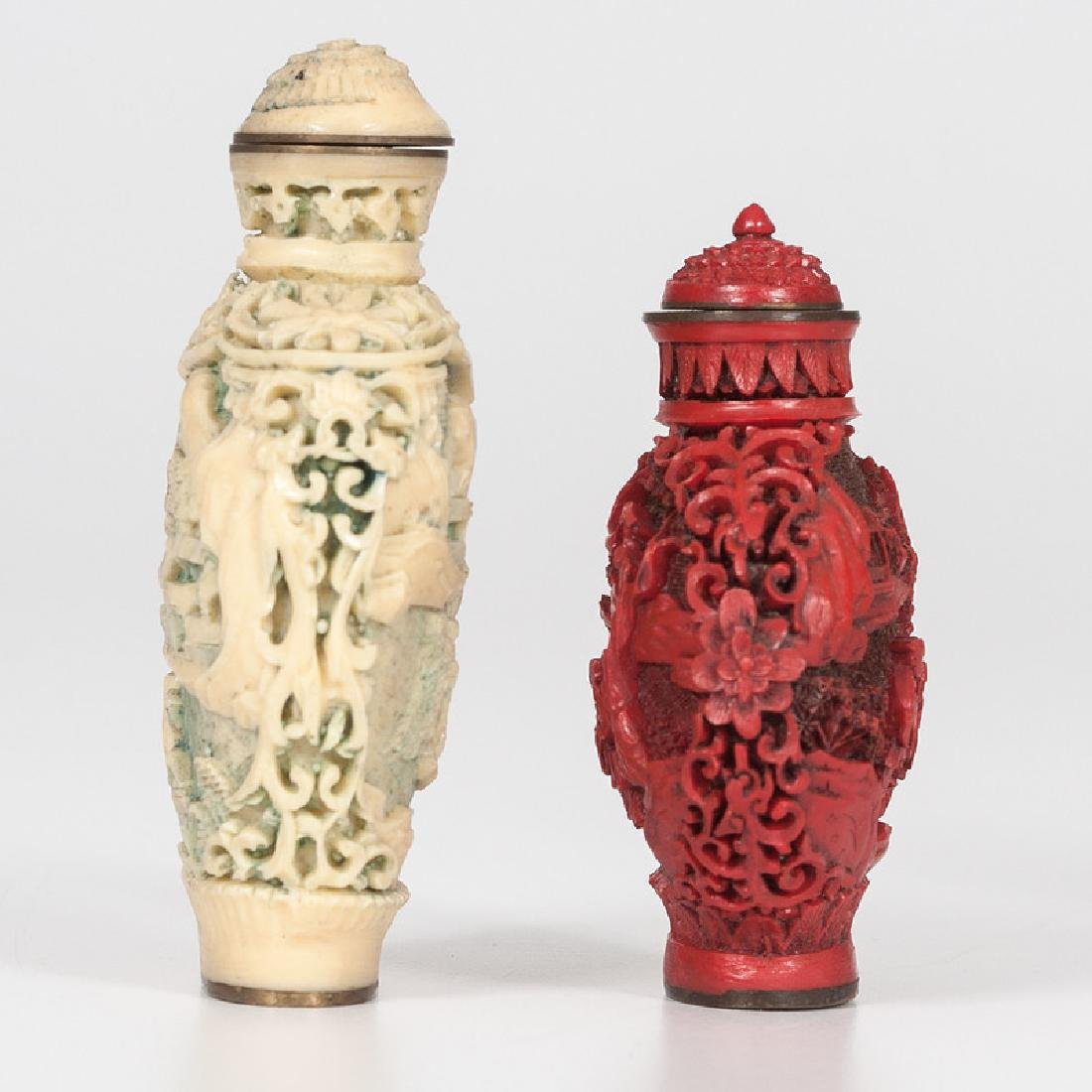 Carved Resin and Cinnabar Snuff Bottles - 4