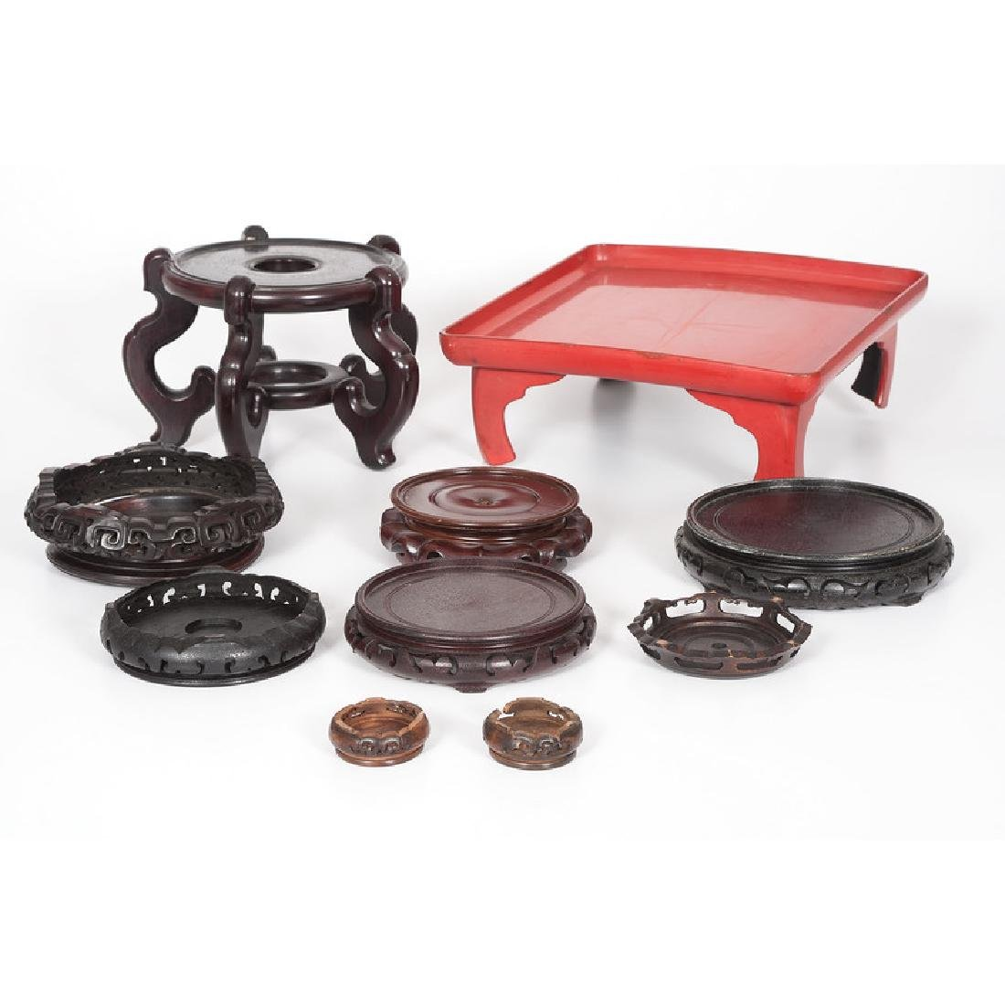 Chinese Carved Hardwood Stands and Red Lacquer Stand