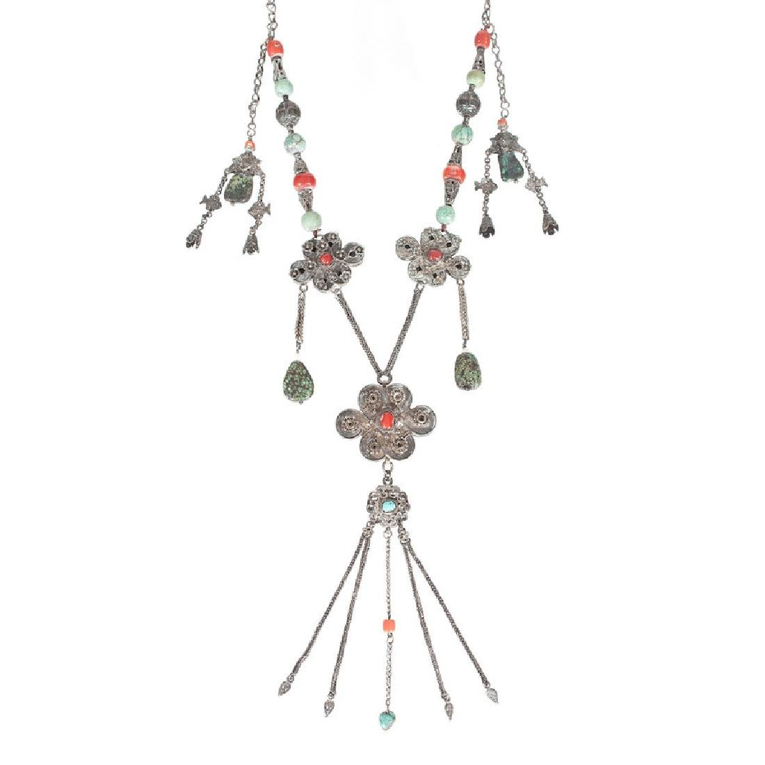 Tibetan Silver and Turquoise Necklace, Plus