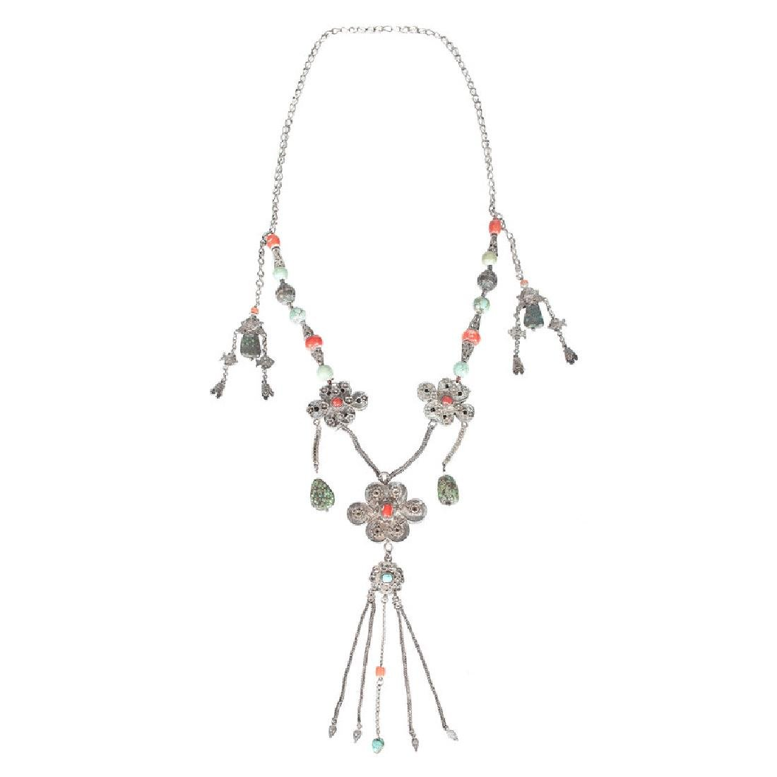 Tibetan Silver and Turquoise Necklace, Plus - 2