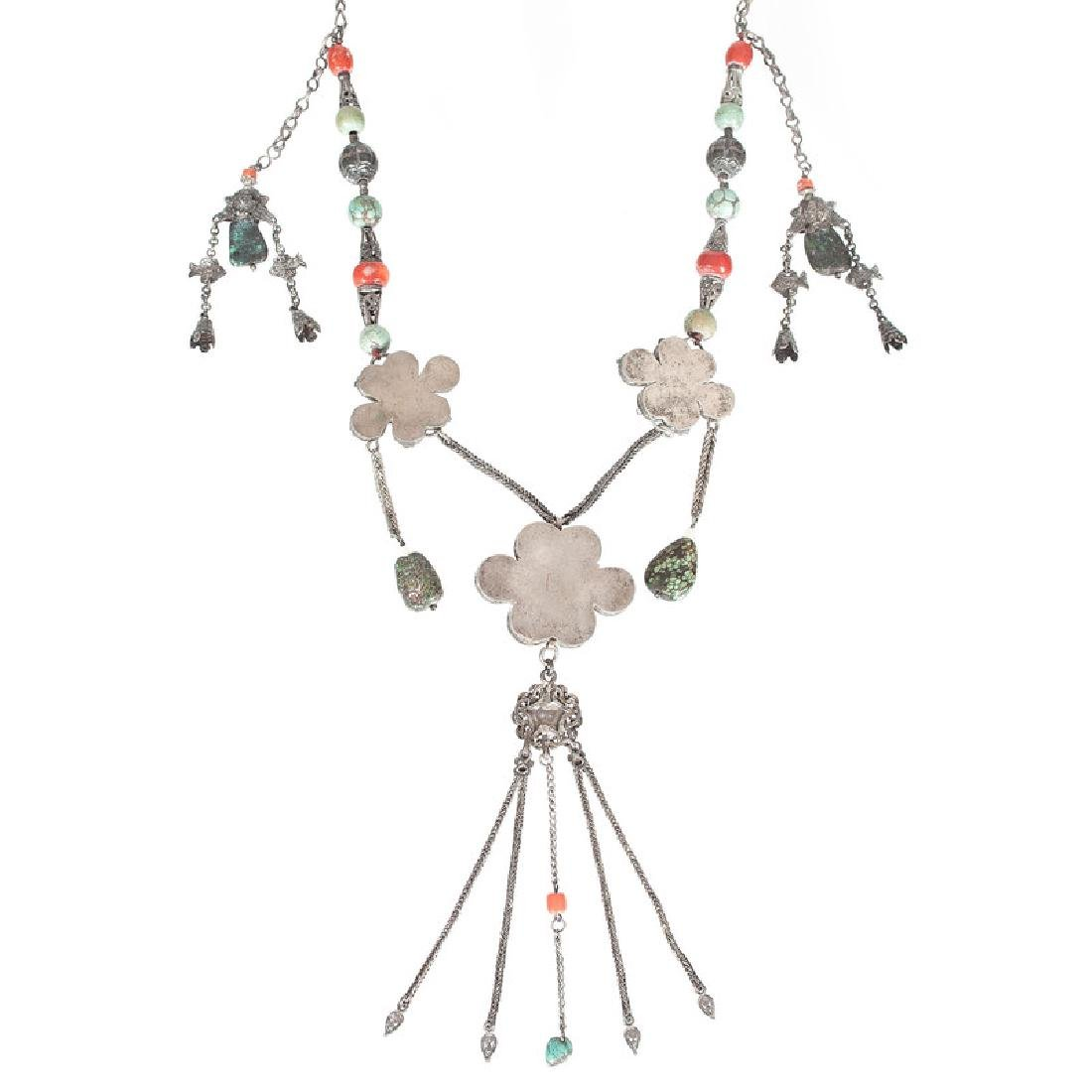 Tibetan Silver and Turquoise Necklace, Plus - 3