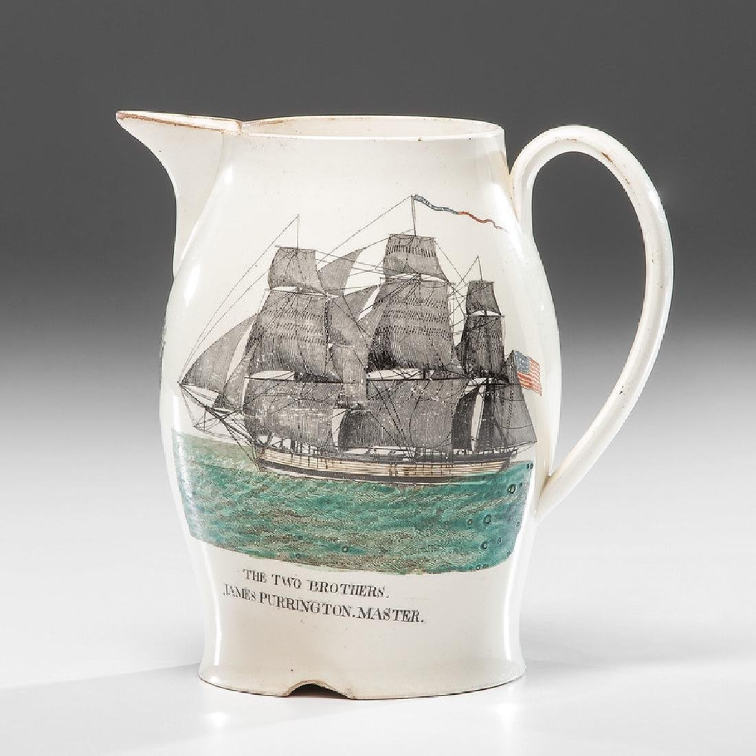The Two Brothers Liverpool Creamware Jug