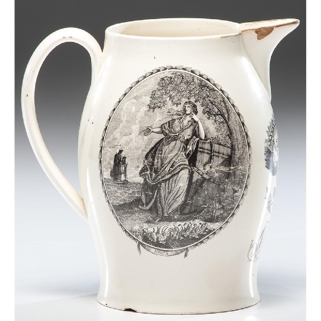 The Two Brothers Liverpool Creamware Jug - 3