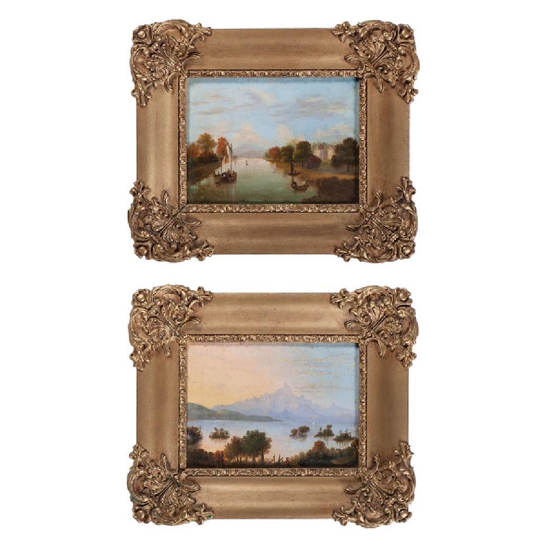 American School, Naive Paintings of Coastal Scenes - 2