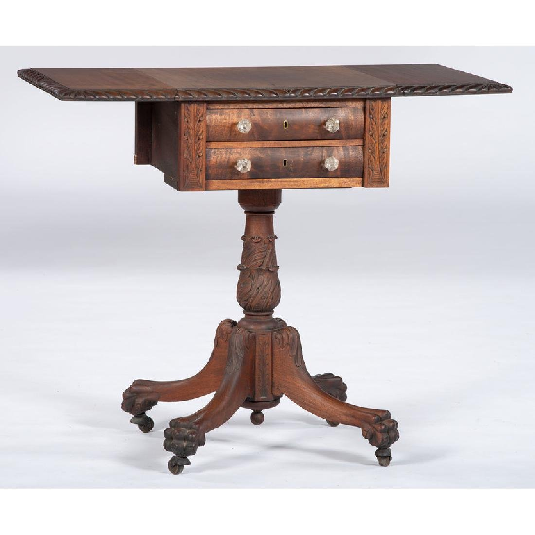 Classical Carved Mahogany Sewing Stand - 2