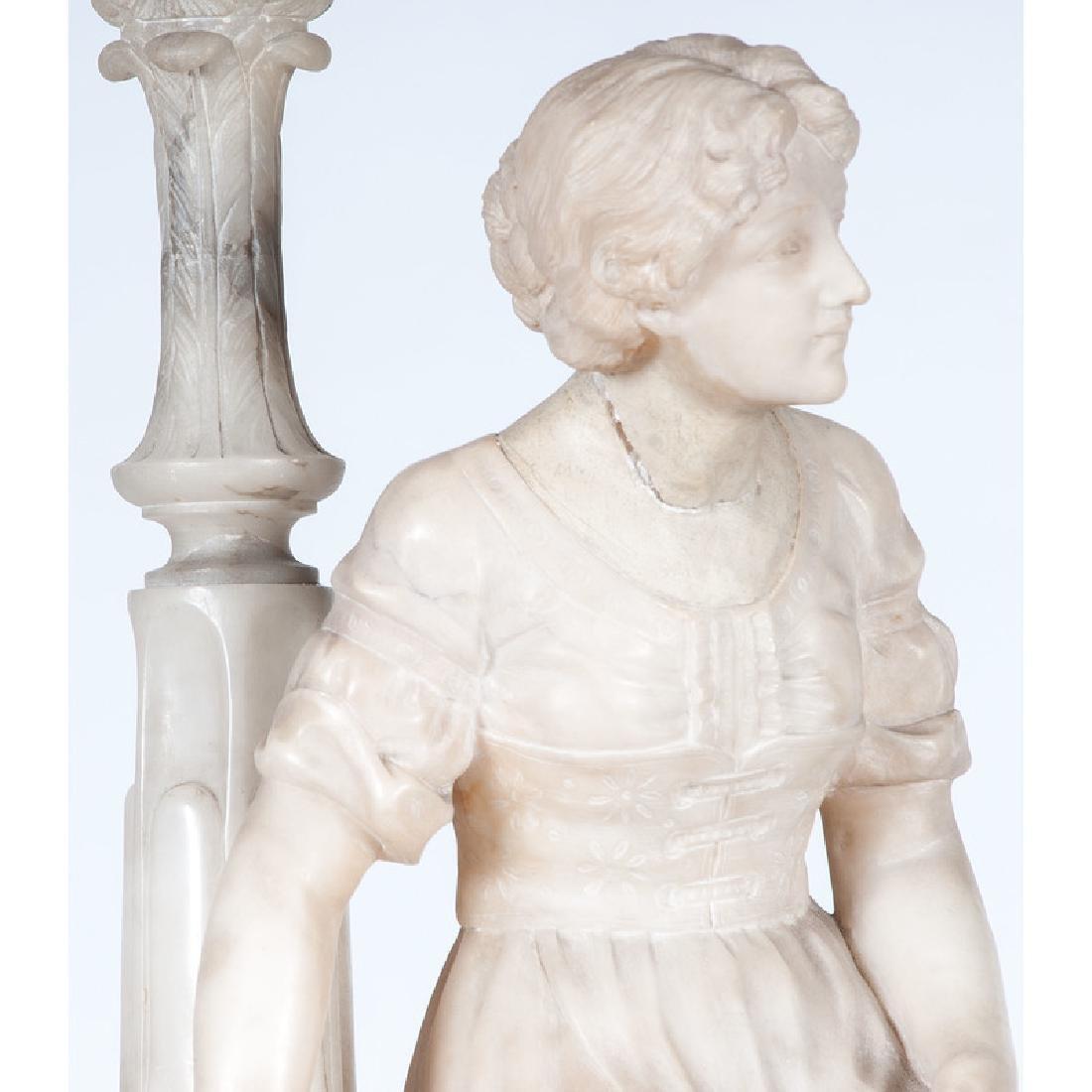 Carved Alabaster Lamp on Pedestal - 2