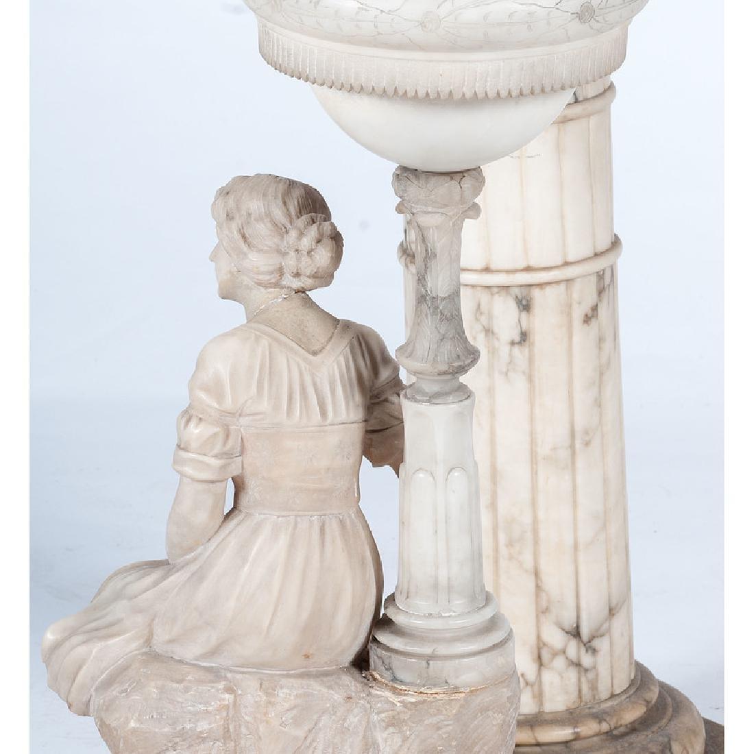 Carved Alabaster Lamp on Pedestal - 3