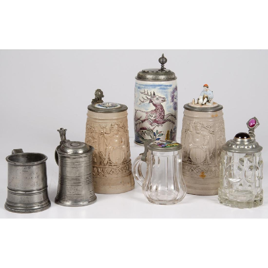 Ceramic, Glass and Pewter Steins