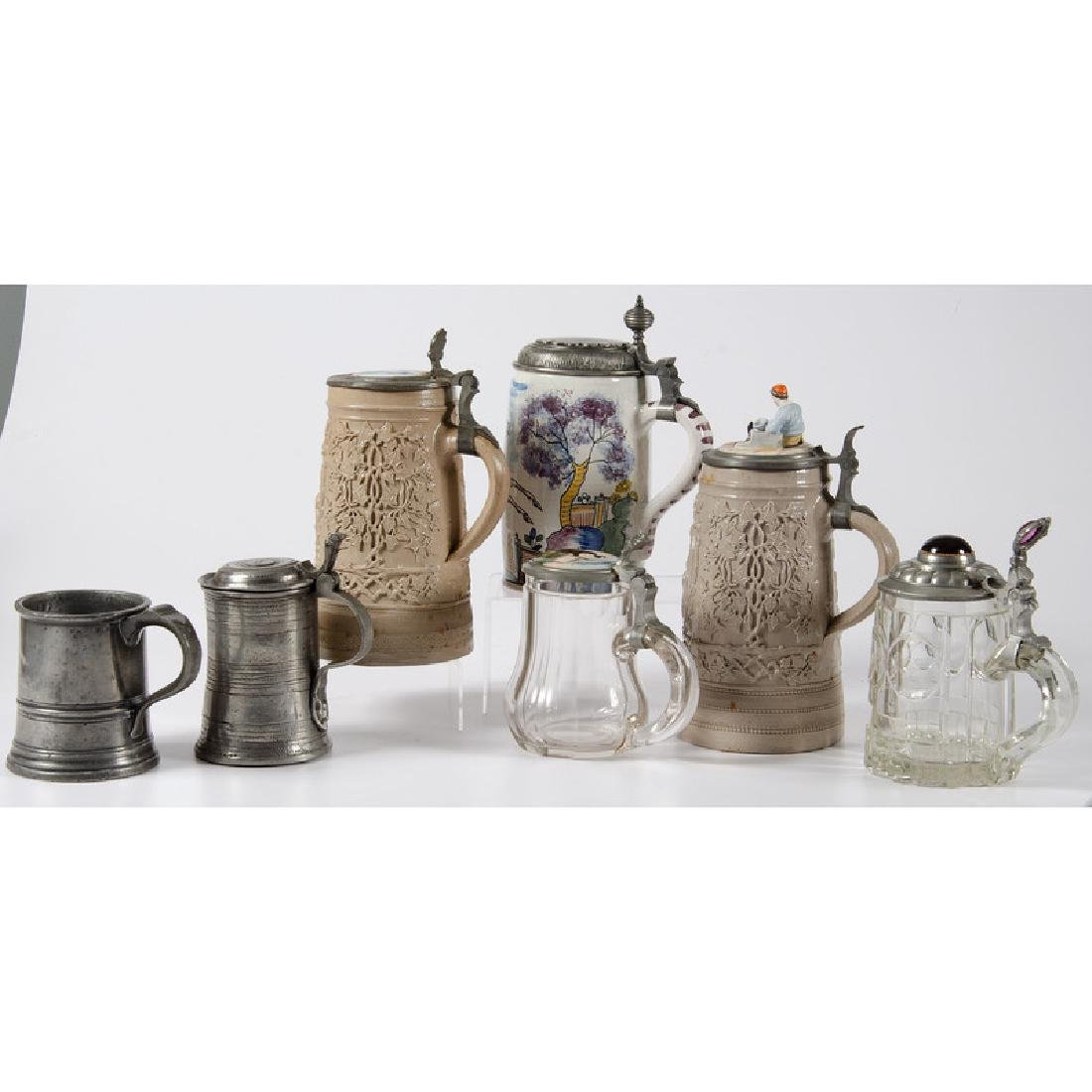 Ceramic, Glass and Pewter Steins - 3
