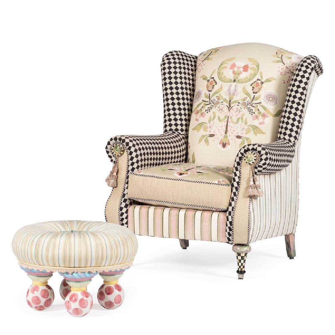 Mackenzie-Childs Upholstered Armchair and Ottoman