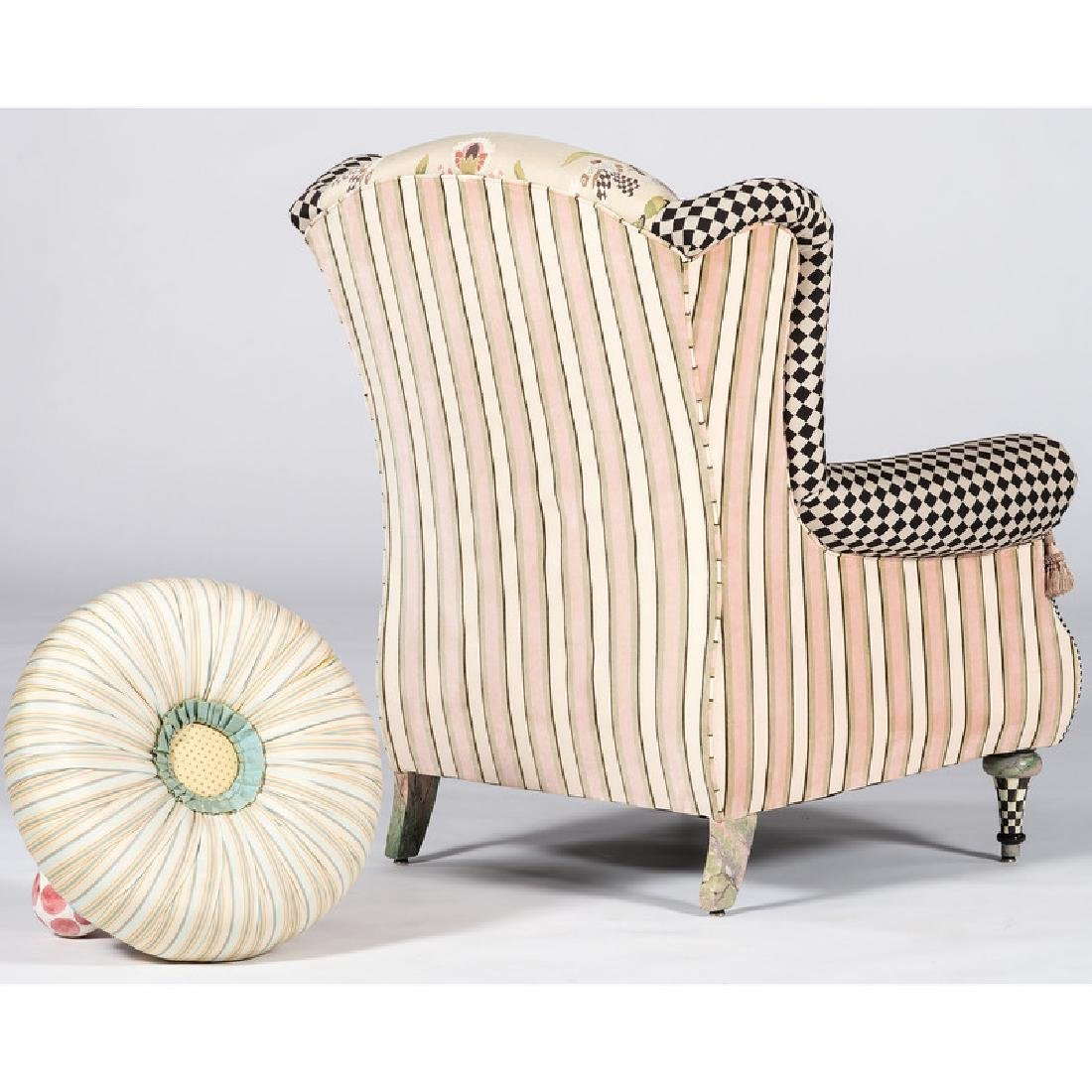 Mackenzie-Childs Upholstered Armchair and Ottoman - 2