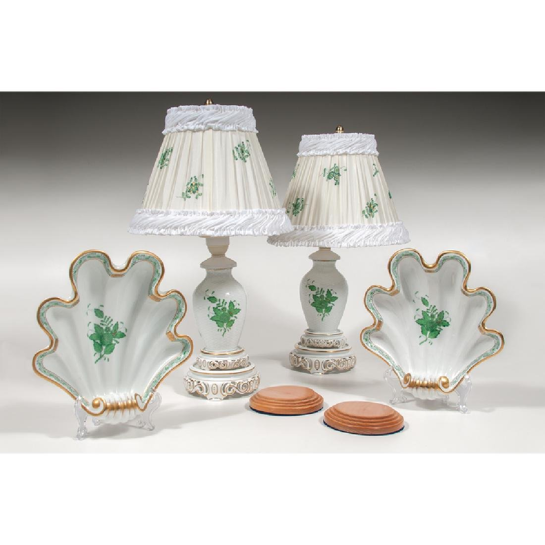 Herend Lamps and Shell Dishes, Chinese Bouquet Green,