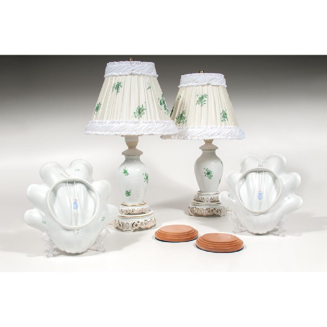 Herend Lamps and Shell Dishes, Chinese Bouquet Green, - 2