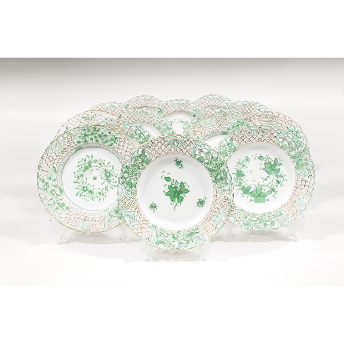 Herend Pierced Plates, Chinese Bouquet, Indian Basket,