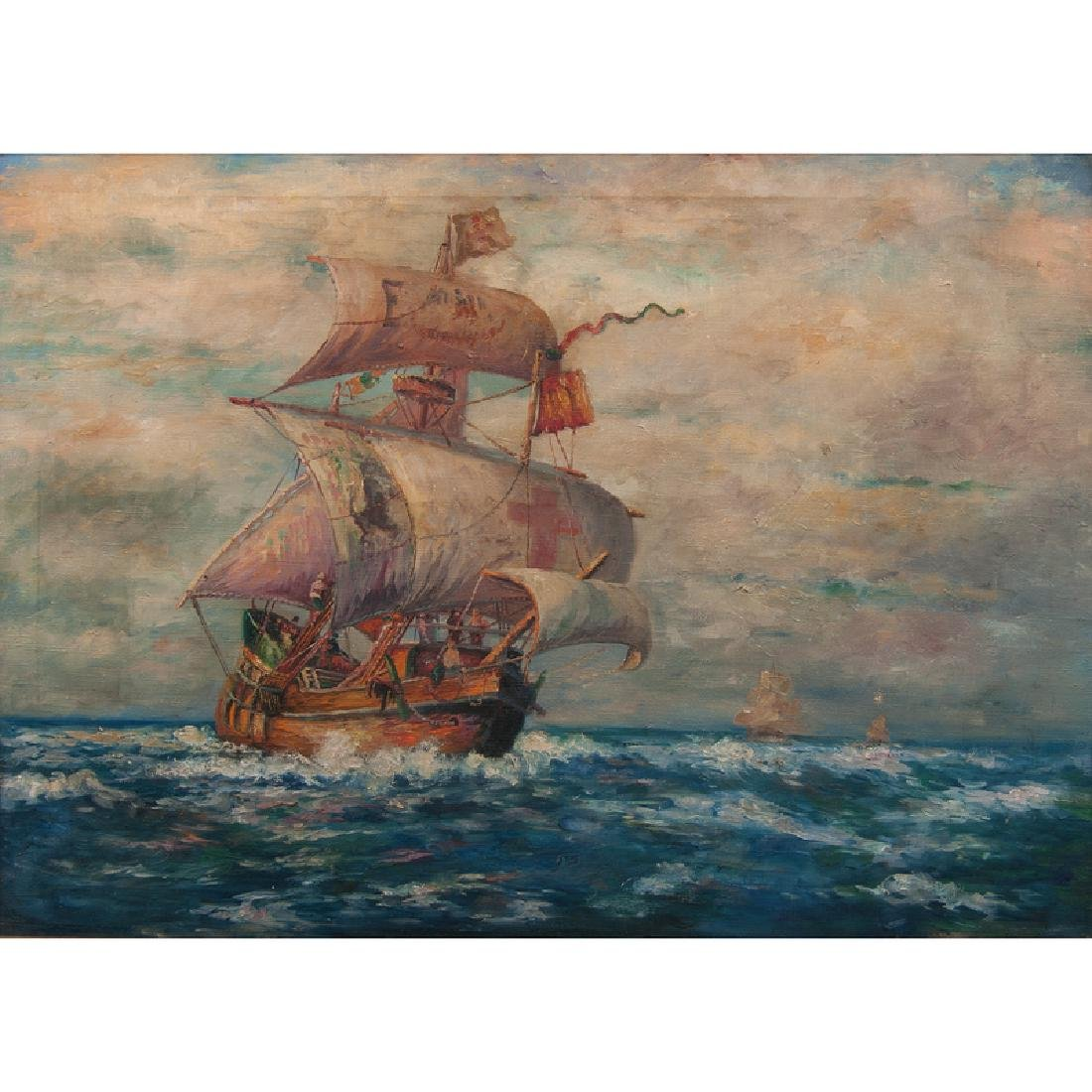 19th Century Painting of Spanish Galleon at Sea, Oil on