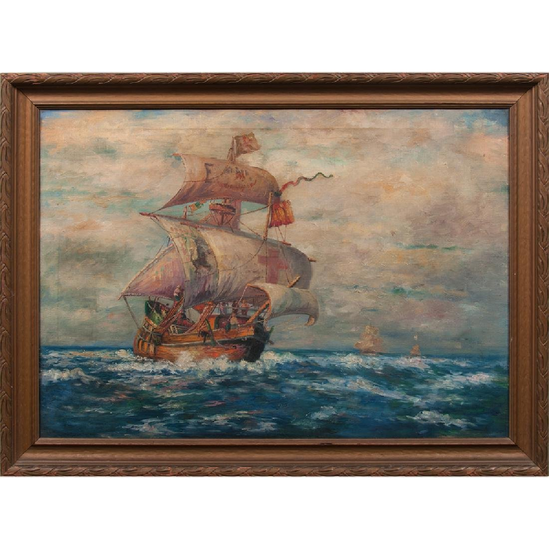 19th Century Painting of Spanish Galleon at Sea, Oil on - 2
