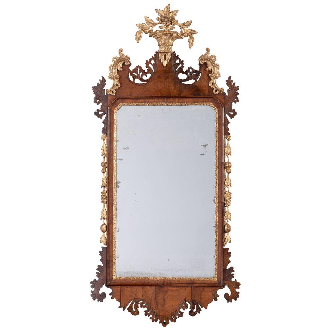 English Chippendale Walnut and Giltwood Mirror