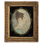 Watercolor Portrait Miniature of a Woman, Attributed to