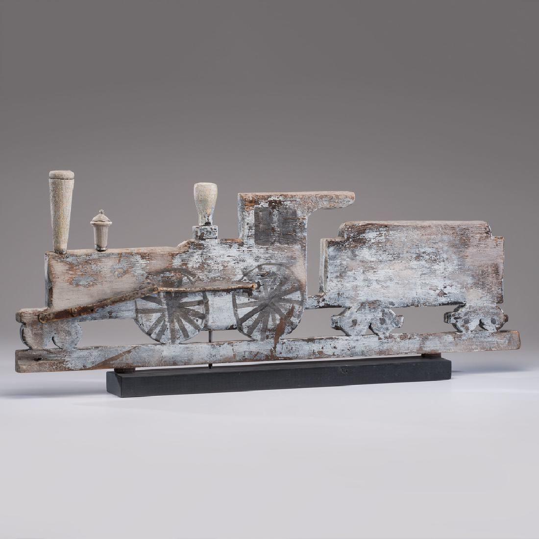 Wooden Locomotive Weathervane from New England