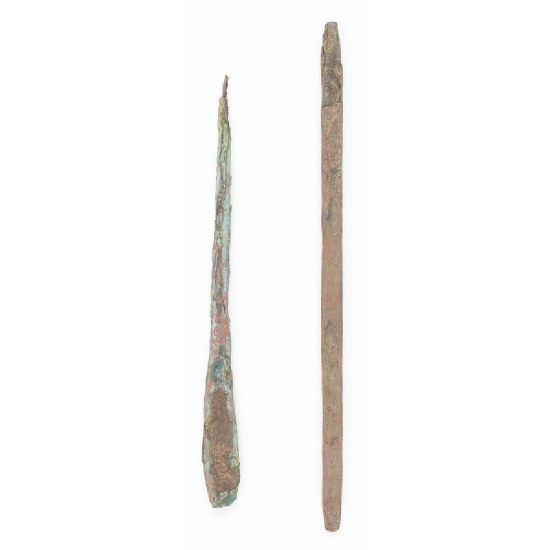 A Pair of Old Copper Culture Awls / Pins