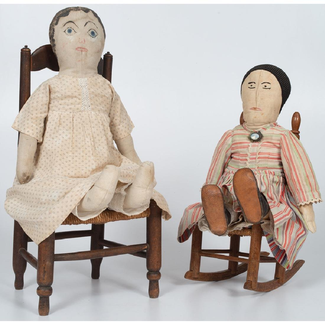 Cloth Dolls and Doll Chairs