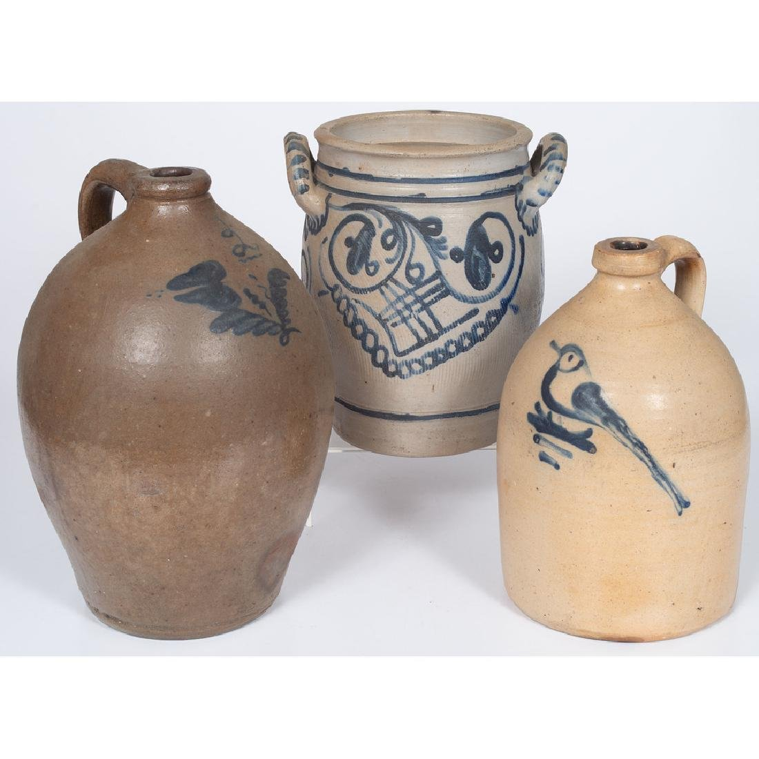Stoneware Cobalt-Decorated Jugs and Crock