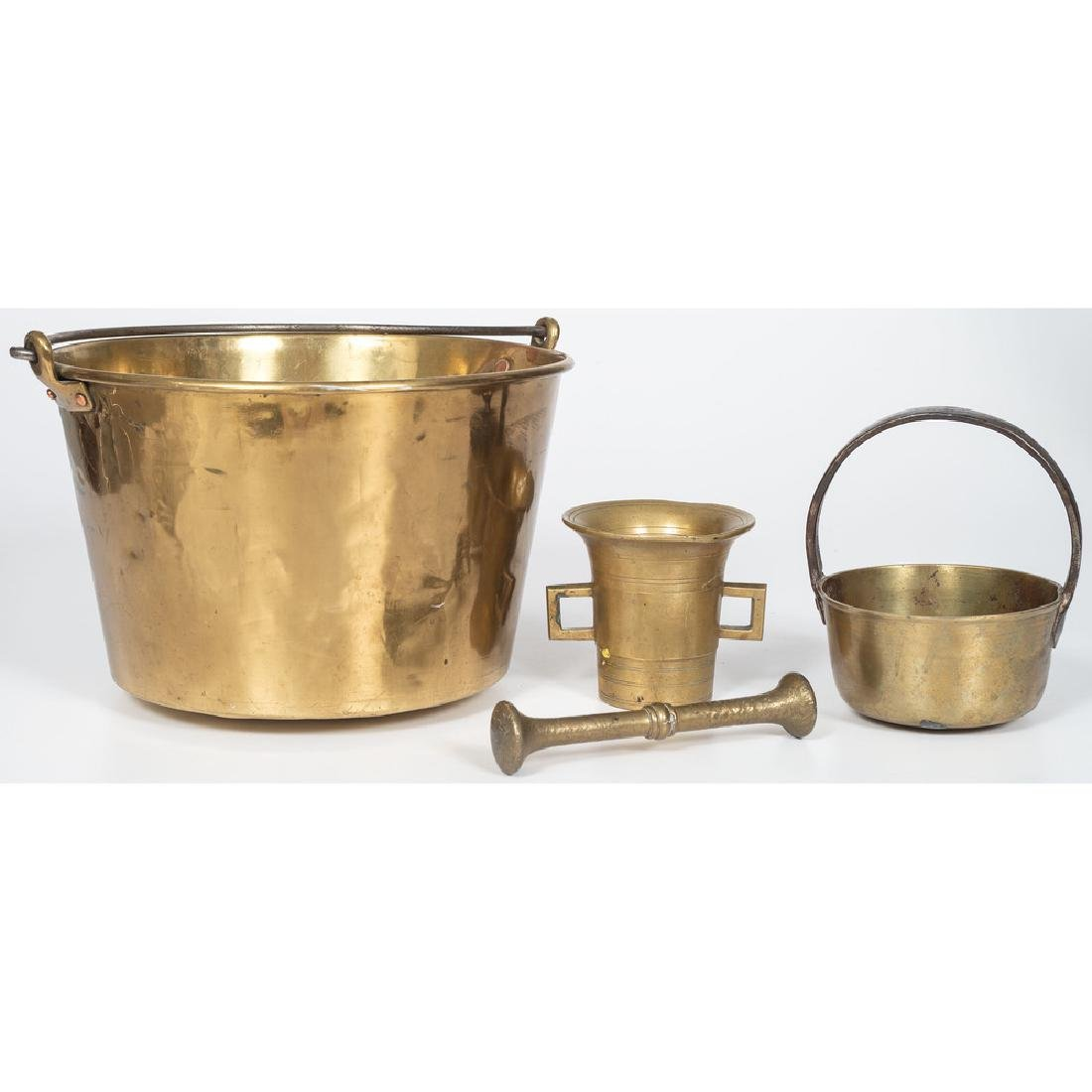 Brass Pail, Handled Pot, and Mortar and Pestle