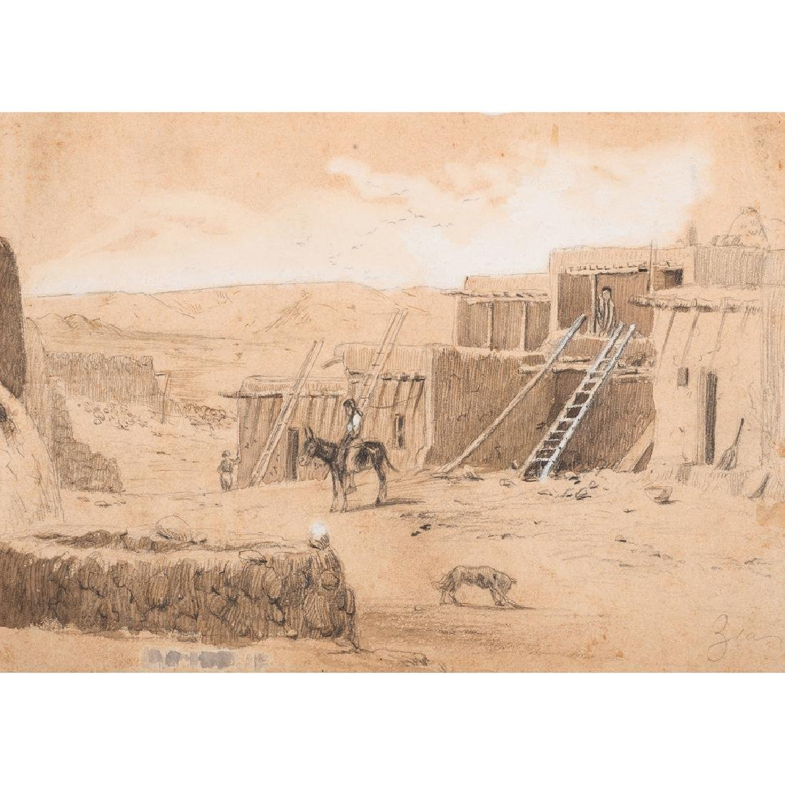 Pencil Drawing of a Zuni Reservation Scene, Style of