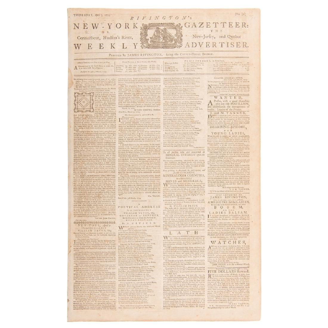 Rivington's New-York Gazetteer,  Rare Colonial American
