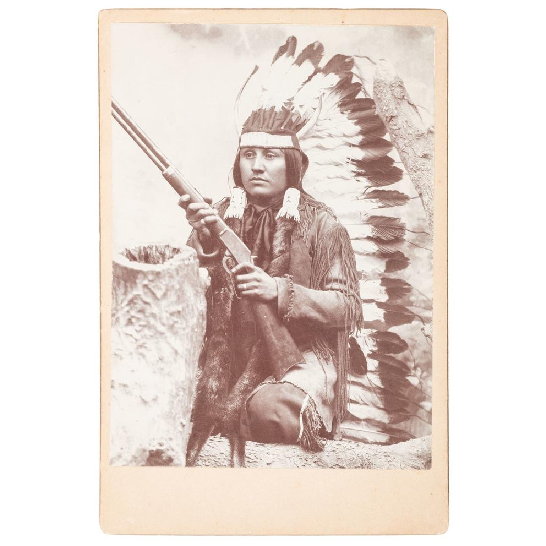Cabinet Photograph of Comanche Warrior White Wolf, by