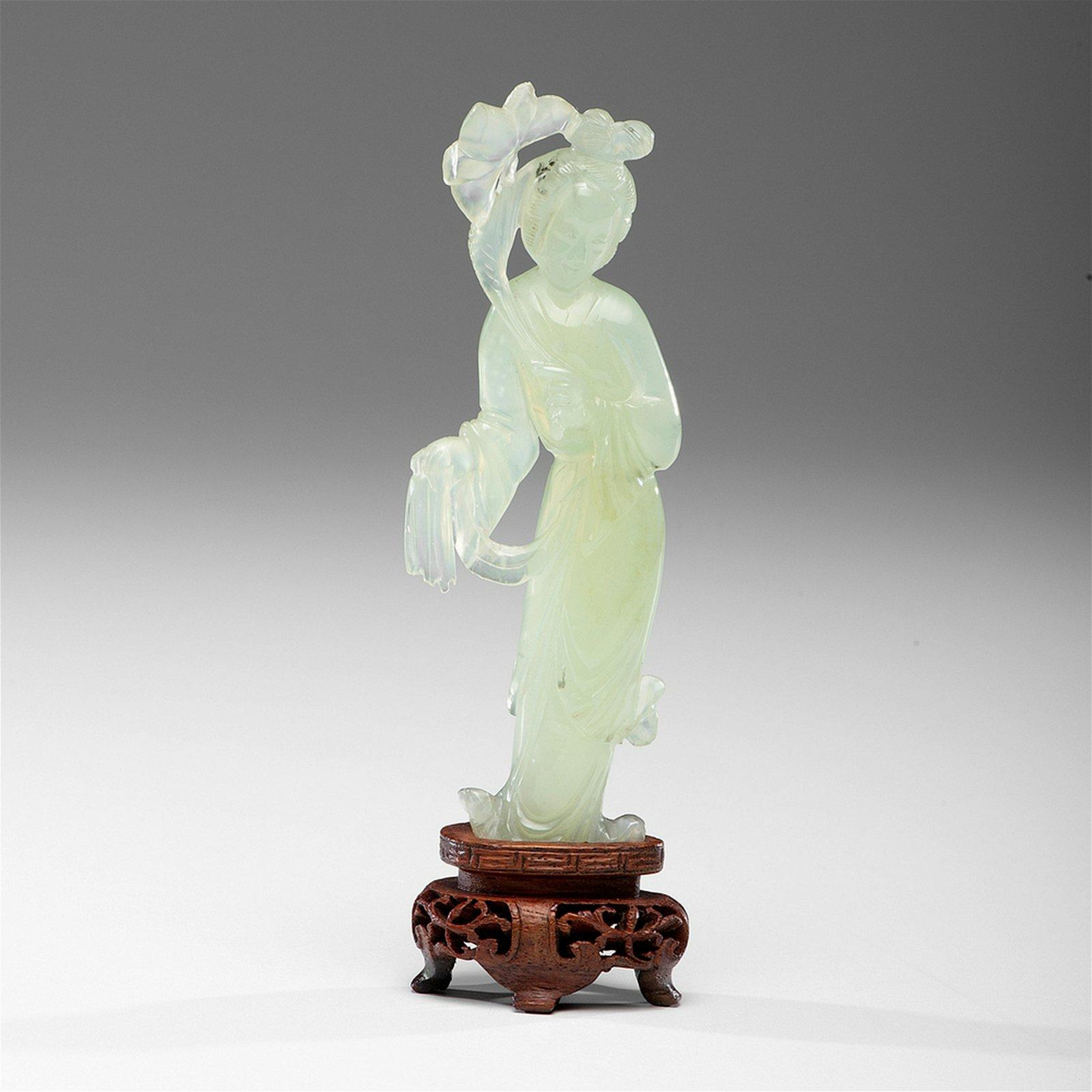 Chinese Celadon Jade Guanyin Figure